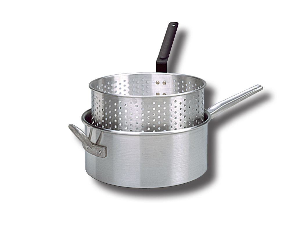 King Kooker® King Kooker® 10 Qt. Aluminum Deep Fryer with Long Fry Pan Handle and Punched Aluminum Basket with Heat Resistant Handle ...