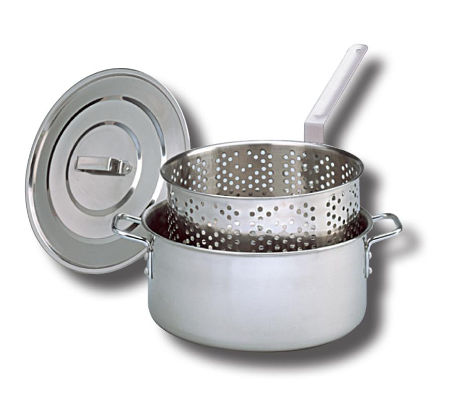 King Kooker® 10 Qt. Stainless Steel Deep Fryer with Lid, Two Helper Handles and Punched Stainless Basket with heat Resistant Handle PartNumber: 028V006755222000P KsnValue: 028V006755222000 MfgPartNumber: KK2S