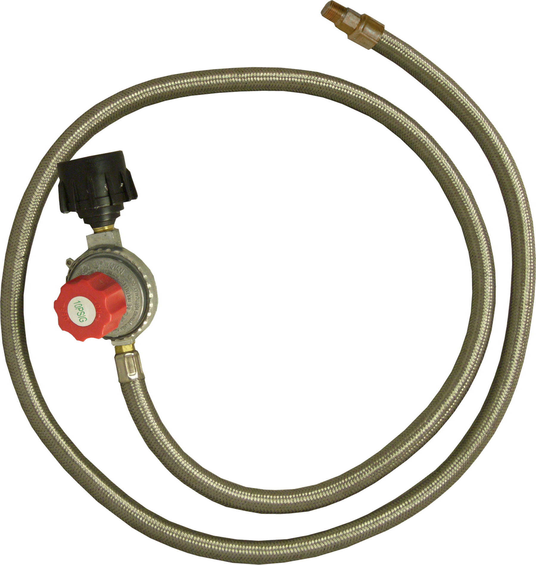 King Kooker® High Pressure 5 PSI Adjustable Regulator with Stainless Steel Braided Hose- 1/8 Male Fitting PartNumber: 07135954000P KsnValue: 07135954000 MfgPartNumber: 30502