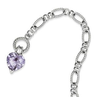 goldia Sterling Silver 7.5 Inch Lavender CZ Heart Bracelet