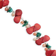 goldia Sterling Silver 8 Inch Pink & Red Coral & Turquoise Bracelet at Kmart.com