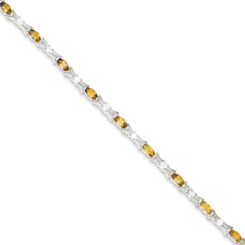 goldia Sterling Silver 7.5 Inch Citrine Bracelet