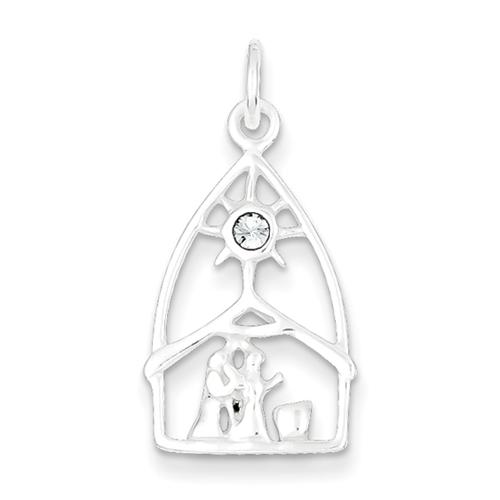 Sterling silver and Swarovski Element Crystal Nativity Charm.