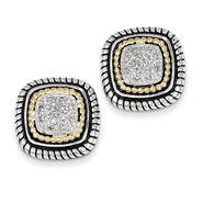 goldia Antique Style Sterling Silver with 14k Gold 1/10ct. Diamond Post Earrings at Sears.com