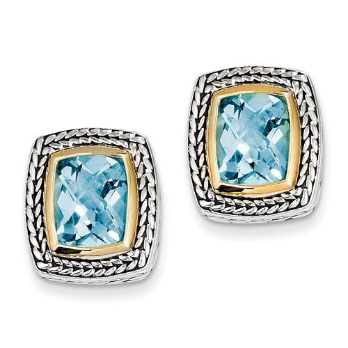 goldia Antique Style Sterling Silver 7.00 Swiss Blue Topaz Earrings