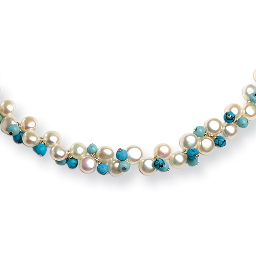 Sterling Silver 15 Inch Cultured Button Pearl/Dyed Howlite/Turquoise Necklace