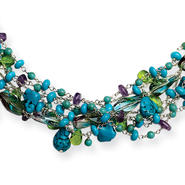 goldia Sterling Silver 16 Inch Howlite/Turquoise/Amethyst/Crystal/Fluorite Necklace at Kmart.com
