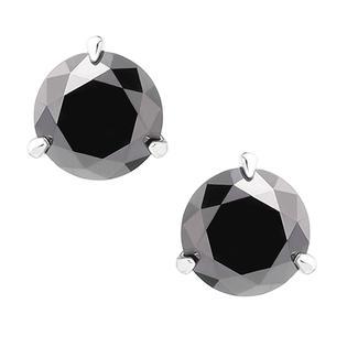 DIAMONBLISS Sterling Silver Cubic Zirconia Black 8mm Round Halo Stud Earrings