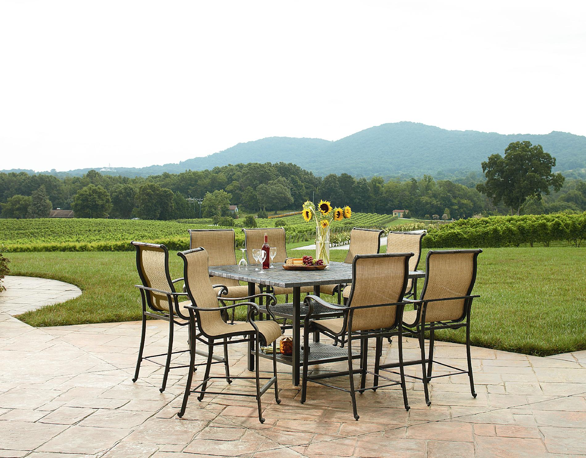 Panorama Outdoor 9 Piece High Dining Patio Set