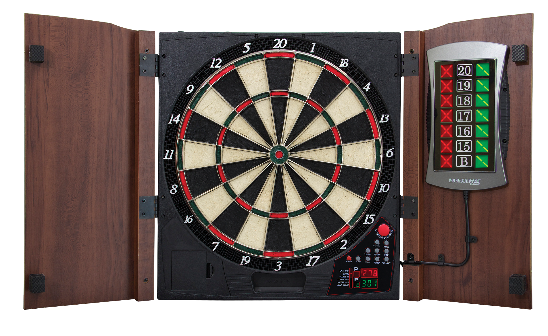 Electronic Dartboard in Wood Cabinet