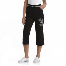 Basic Editions Women's Plus Stretch Khaki Capri Pants & Belt - Flower at Kmart.com