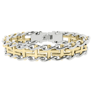Cross Railroad Bracelet with Gold Ion Plating Accents in Stainless Steel at Kmart.com