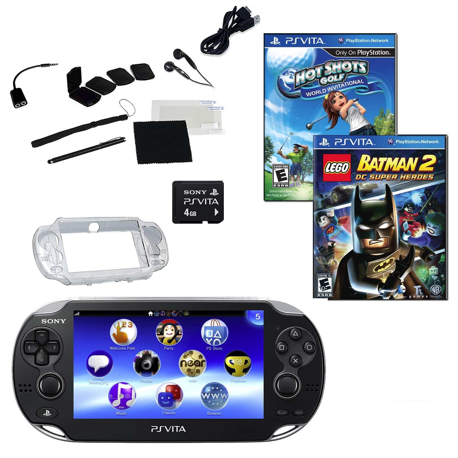 Sony PlayStation Vita Wi-Fi Bundle with 2 Games, Memory Card, and Accessories