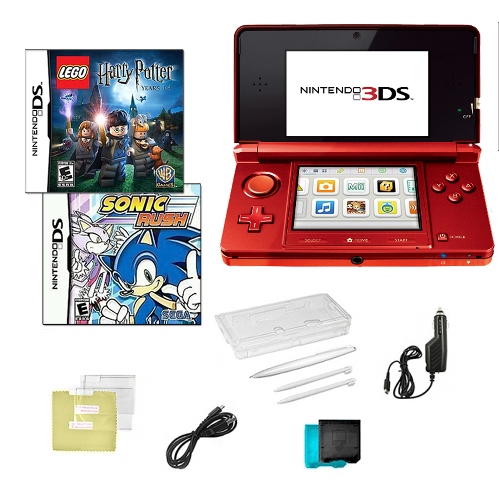 3DS Red with Sonic Rush and Lego Hary Potter