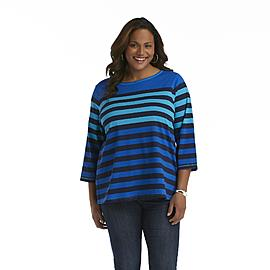 Basic Editions Women's Plus Tunic Top - Striped at Kmart.com