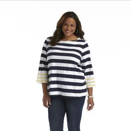 Basic Editions Women's Plus Three-Quarter Sleeve Top - Striped at Kmart.com