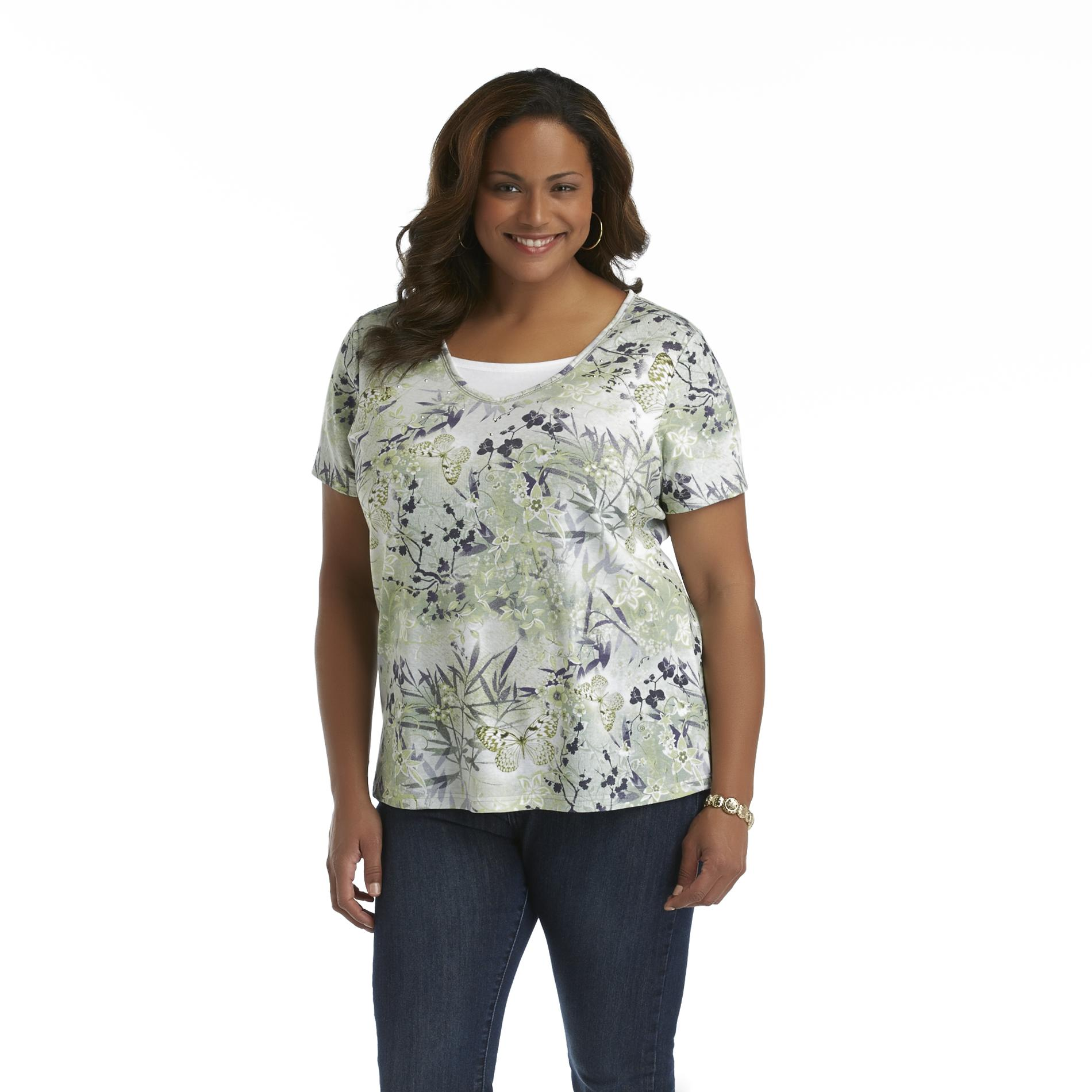 Basic Editions Women's Plus Layered V-Neck Top - Floral & Butterfly at Kmart.com
