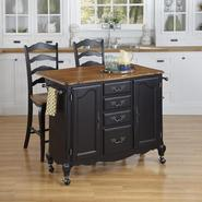 Home Styles Oak and Rubbed Black French Countryside Kitchen Cart and Two Stools at Kmart.com
