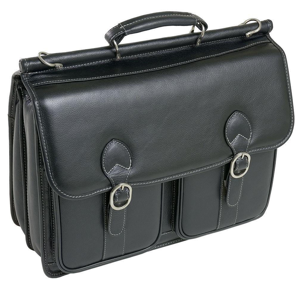 McKlein® McKleinUSA HAZEL CREST 15605 Black Leather Double Compartment Laptop Case