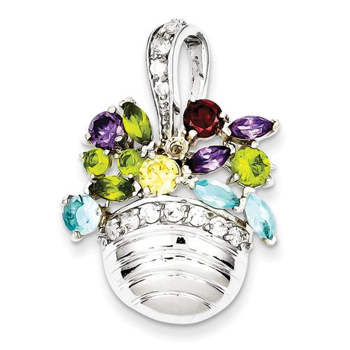 goldia Sterling Silver Multi-colored Gemstone Basket Pendant/ Pin