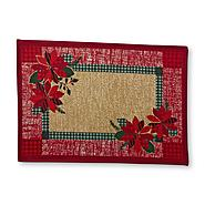 Essential Home Christmas Accent Rug - Poinsettias & Plaid at Kmart.com