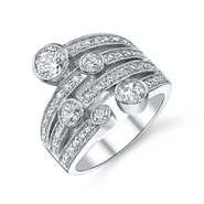 DIAMONBLISS Sterling Silver Cubic Zirconia Round Cut Band Ring at Sears.com
