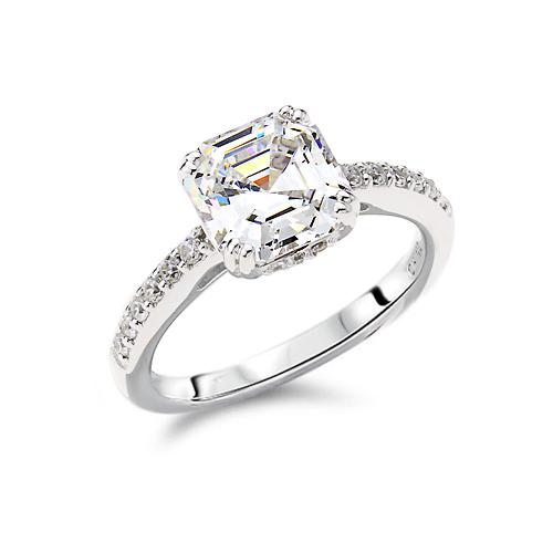 Gemour Sterling Silver Cubic Zirconia Asscher Cut Ring