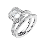 DIAMONBLISS Sterling Silver Cubic Zirconia Emerald Cut Halo Ring Set at Sears.com