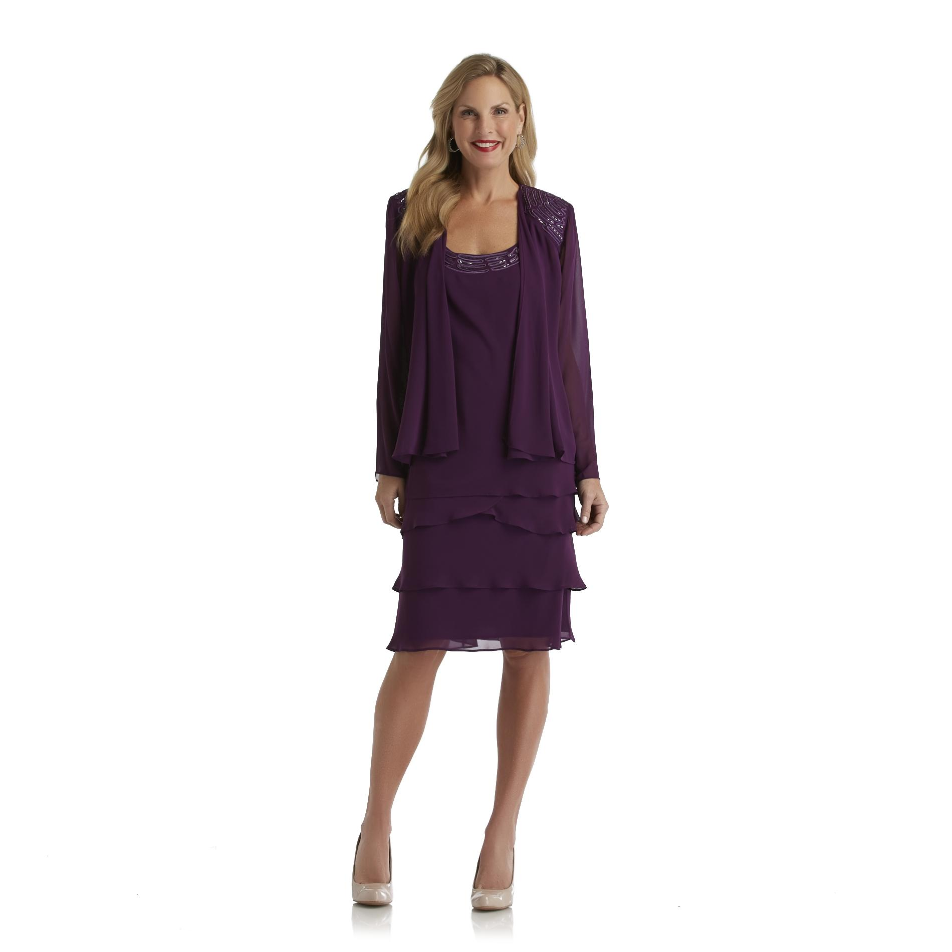 S. L. Fashions Women's Embellished Sleeveless Dress & Jacket at Sears.com