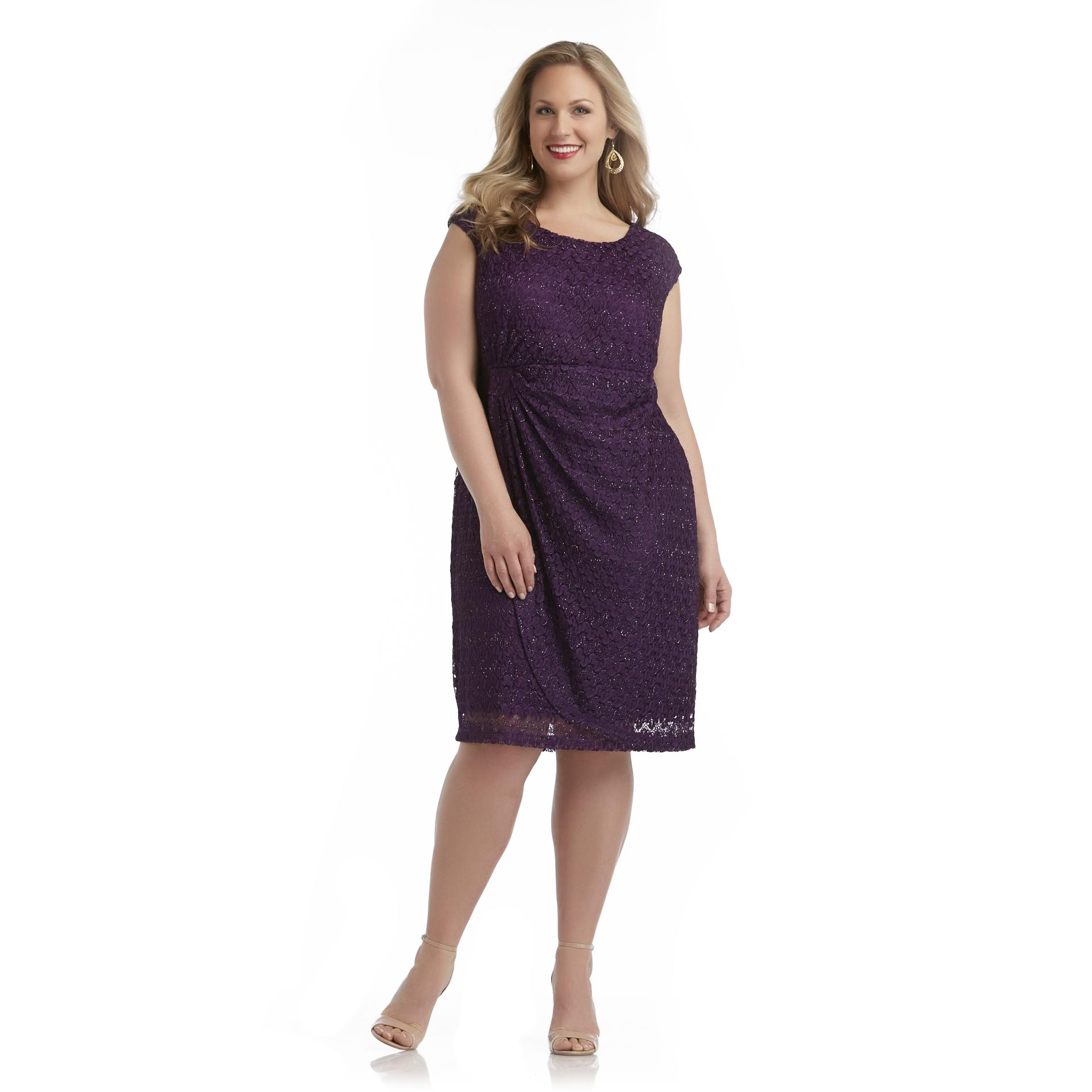 Connected Apparel Women's Plus Cocktail Dress - Metallic at Sears.com