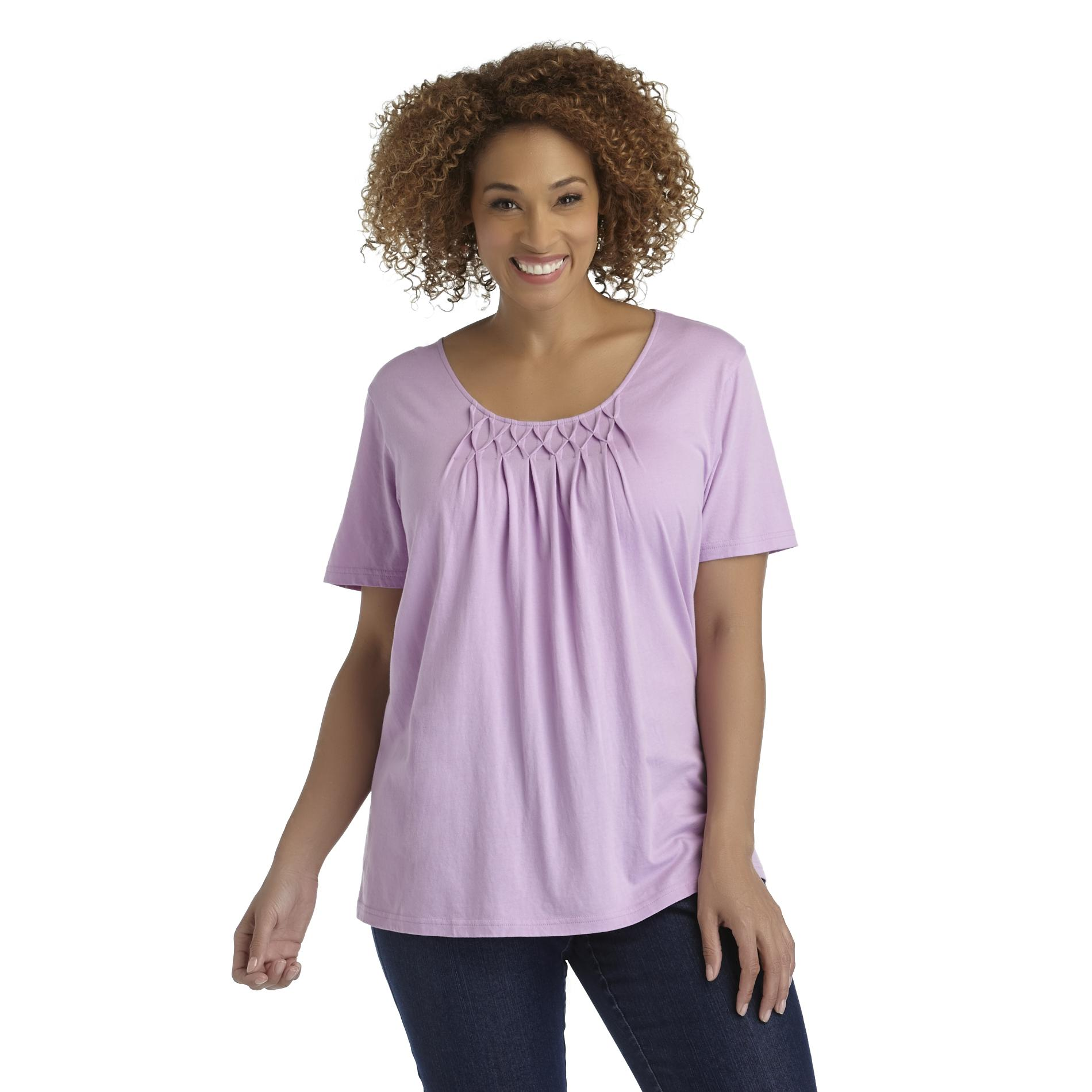 Basic Editions Women's Plus Pintuck-Detail Top at Kmart.com