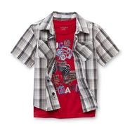 Toughskins Infant & Toddler Boy's T-Shirt & Button-Front Shirt - Trucks at Sears.com