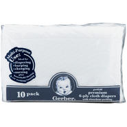 Gerber Childrenswear Prefolded Gauze with Pad Cloth Diapers (10 pack) - White, Model# 57996R060WH1STD at Kmart.com