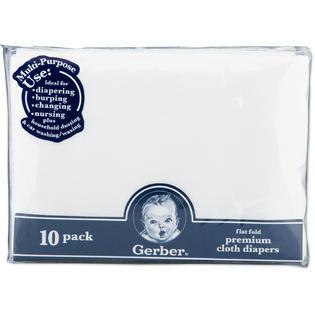 Gerber Childrenswear Flatfold Gauze Cloth Diapers (10 pack) - White