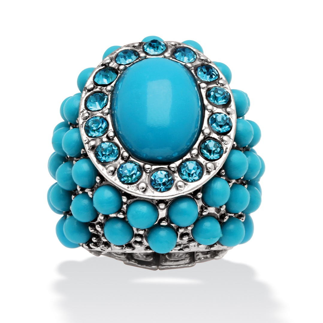 PalmBeach Jewelry Oval and Round Simulated Turquoise and Crystal Accent Silvertone Stretch Ring