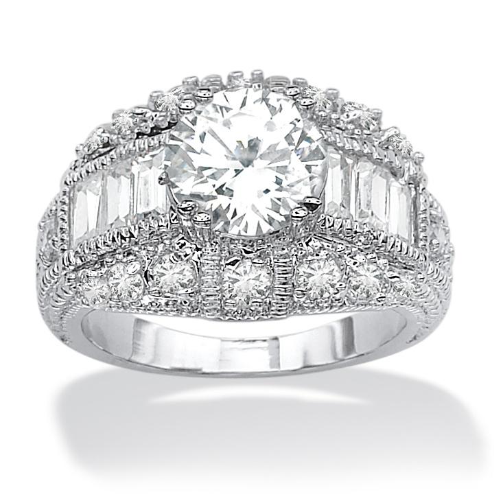 PalmBeach Jewelry 3.17 TCW Round Cubic Zirconia Silvertone Anniversary Ring