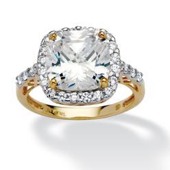 PalmBeach Jewelry 3.20 TCW Cushion Princess-Cut Cubic Zirconia 10k Yellow Gold Engagement Anniversary Ring at Kmart.com