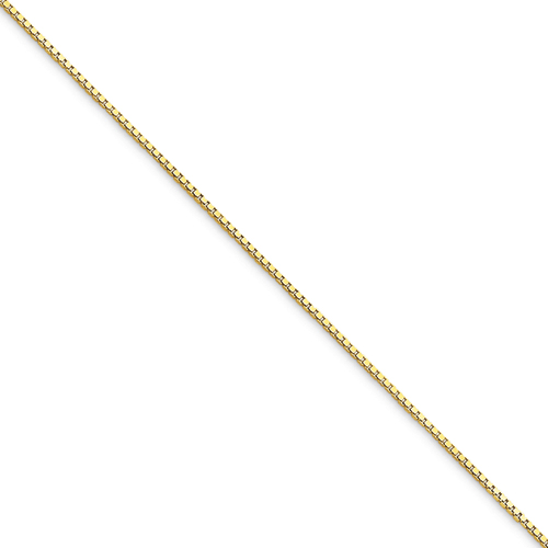 10k .75mm Box Chain Anklet - 9 Inch - Lobster
