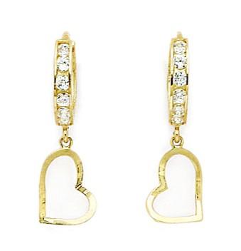 14KT Yellow Gold Cubic Zirconia Heart Drop Hinged Earrings - Measures 23x7mm