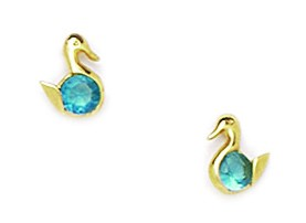 14KT Yellow Gold December Birthstone Blue Topaz 3x3mm Cubic Zirconia Duck Screwback Earrings - Measures 6x5mm PartNumber: 04462834000P KsnValue: 04462834000 MfgPartNumber: MDE184236Y
