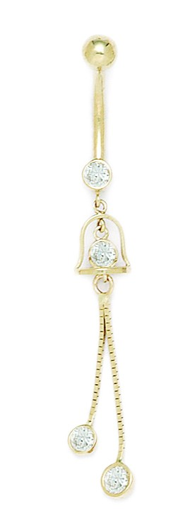 14k Yellow Gold CZ 14 Gauge Dangling 2 Chain Body Jewelry Belly Ring - Measures 56x8mm PartNumber: 026V006911220000P KsnValue: 026V006911220000 MfgPartNumber: MDR187628Y