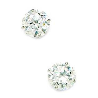 14KT White Gold 6mm Round Cubic Zirconia Screwback Earrings