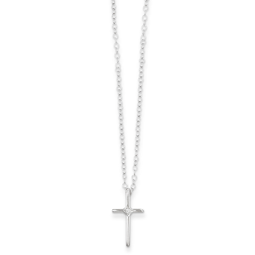 14k White .01ct Rough Diamond Cross Childrens Necklace - 15 Inch - Measures 10x8mm