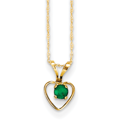 14 Karat 3mm Emerald Heart Birthstone Pendant Child Chain 15 Inch - Measures 10x6mm