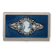 Steel Blue Enameled and Cameo Pendant Business Card Holder at Sears.com