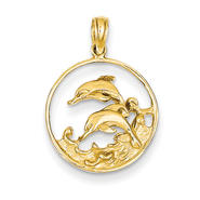 goldia 14k Yellow Gold Double Dolphin Circle Pendant at Kmart.com