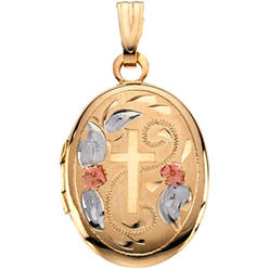 14k Yellow Gold Tri Color Oval Shaped Locket Cross 16x13mm at Kmart.com