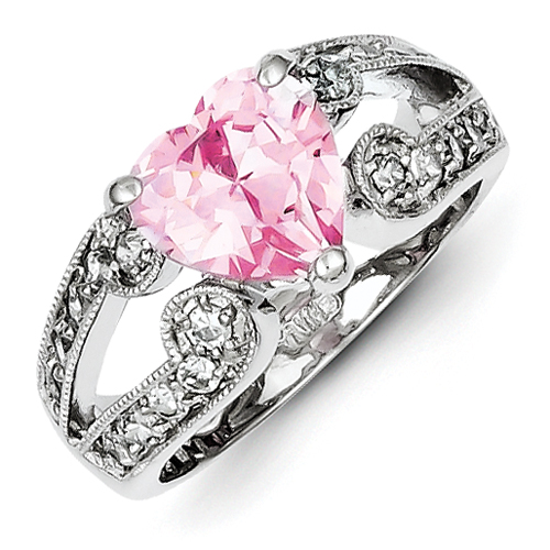 Sterling Silver 10mm Pink and Clear CZ Heart Ring - Size 8 PartNumber: 04462223000P KsnValue: 04462223000 MfgPartNumber: QTR72795SS