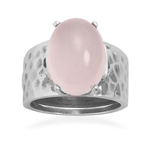 Hammered Oxidized Sterling Silver Ring With Oval 15mm X 12mm Rose Quartz Stone - Size 8