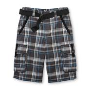 SK2 Boy's Cargo Shorts & Belt - Plaid at Kmart.com
